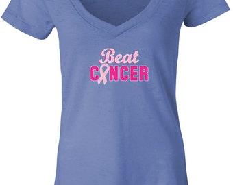 Breast Cancer Awareness Ladies Shirt Beat Cancer Burnout V-Neck Tee T-Shirt BEAT-8605