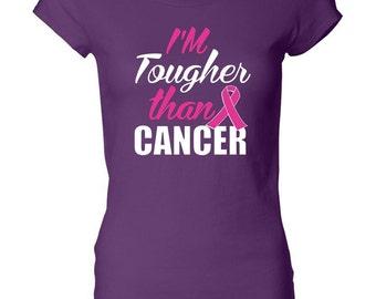 Breast Cancer Awareness Ladies Shirt Im Tougher than Cancer Longer Length Tee T-Shirt TOUGH-8101