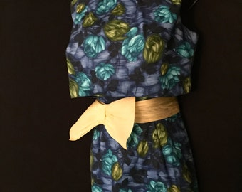 50's Tropicanna Wiggle Dress With Peek a Boo Jacket   VG24
