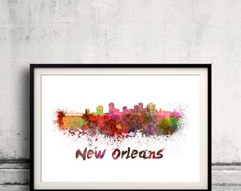 New Orleans skyline in watercolor over white background with name of city 8x10 in. to 12x16 in. Poster art Illustration Print  - SKU 0230