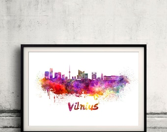 Vilnius skyline in watercolor over white background with name of city 8x10 in. to 12x16 in. Poster Wall art Illustration Print  - SKU 0349