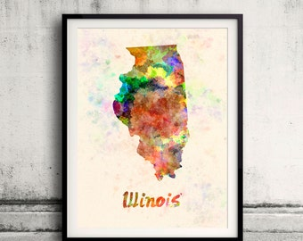 Illinois US State in watercolor background 8x10 in. to 12x16 in. Poster Digital Wall art Illustration Print Art Decorative  - SKU 0401
