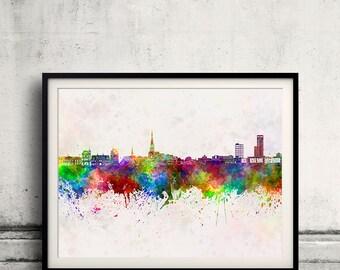 Leeuwarden skyline in watercolor background 8x10 in. to 12x16 in. Poster Digital Wall art Illustration Print Art Decorative - SKU 0955