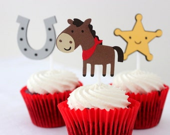 12 x Cowboy Cupcake Toppers - Horse, Sheriff Star and Horse Shoe - Birthday Party
