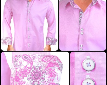 Pink Paisley Men's Designer Dress Shirt - Made To Order in USA