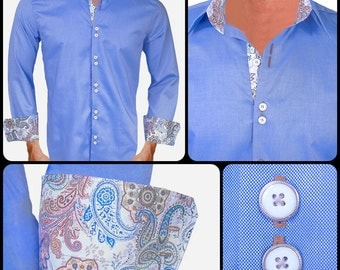 Blue with Brown Men's Designer Dress Shirt - Made To Order in USA