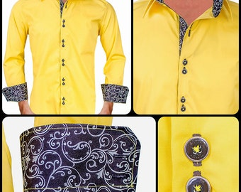 Bright Yellow with Black Metallic Paisley Men's Designer Dress Shirt - Made To Order in USA