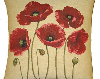 jacquard woven belgian tapestry cushion 5 poppies Flanders Fields
