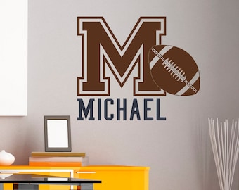 Initial Name Wall Decal American Football Wall Decals Personalized Initial Name Monogram Nursery Kids Boys Teens Room College Decor M037