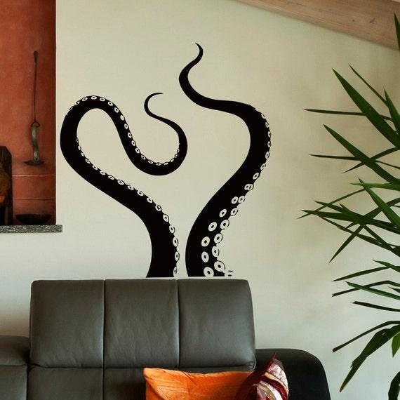 wall decal octopus tentacles vinyl stickers sea animal kraken. Black Bedroom Furniture Sets. Home Design Ideas