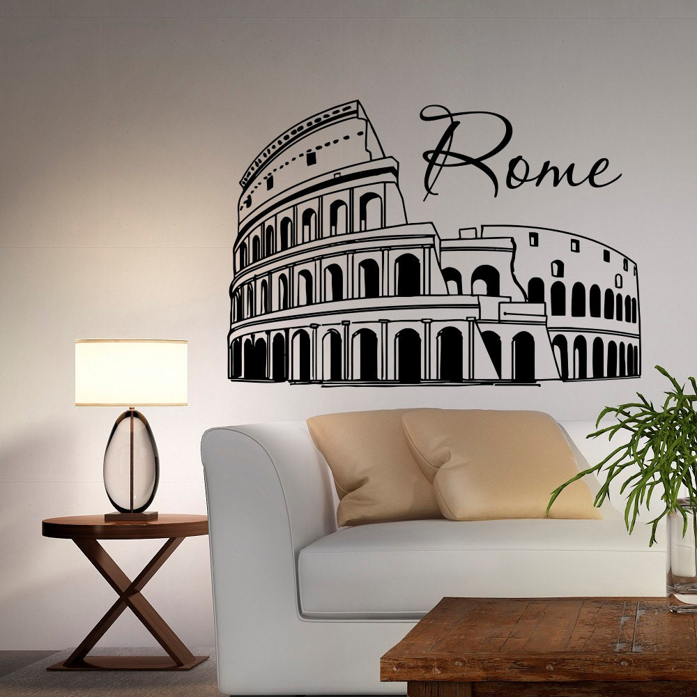 rome coliseum wall decal italy cityscape skyline silhouette rome coliseum wall decal vinyl sticker italy skyline silhouette interior wall decals murals office living room