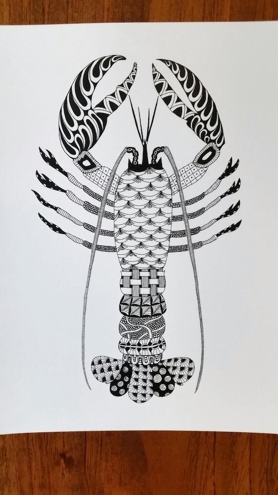 Lobster Zentangle Art Print