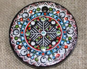 """Pendant, washer wooden painted, ground """"Slavic rhythm"""""""