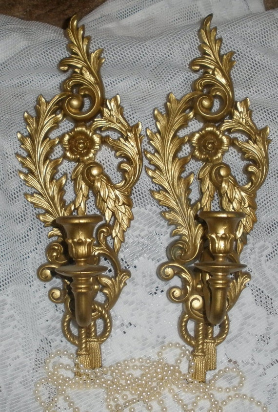 Vintage Pair Gold Wall Sconces Candle Holders Syroco Cottage