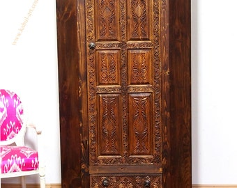antique-look Hand Carved orient vintage wooden cornar wardrobe cupboard cornar-cabinet from Afghanistan