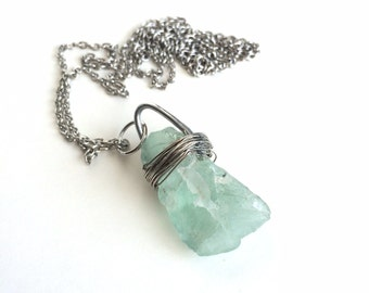 Green Flourite Wire Wrapped Necklace