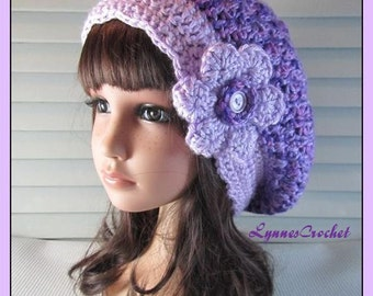 Hand Crocheted Purple Slouchy Hat with a Pretty Orchid Flower on the Side ..