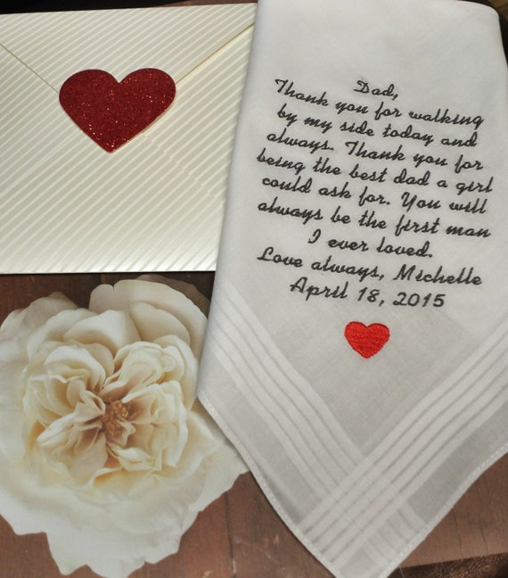 Wedding Gifts For Dad From Bride : ... Wedding Handkerchief. Gift from Bride to Dad. Fathers Gift. Free Gift