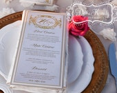 Blush & Gold Bespoke Menu Cards - DEPOSIT - Baroque Wedding Reception - Reception Menus, Custom Design Wedding Reception Decor Event Menu