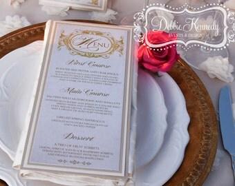 Blush & Gold Bespoke Menu Cards - SAMPLE - Baroque Wedding Reception - Reception Menus, Custom Design Wedding Reception Decor Event Menu