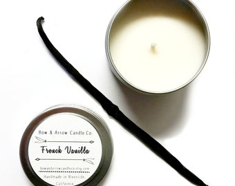 4 oz Natural Soy Candle French Vanilla Scented | 4 oz Tin Candle | Vanilla Soy Candle | French Vanilla | Scented Soy Candle | Soy Candles
