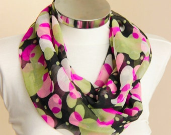 Spring Summer Fashion geometric circles infinity scarf: Pink olive green black Scarf  shawl wrap spring summer fashion gift for her