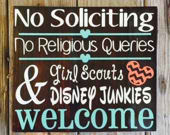 No Soliciting Sign / No Solicitation / No Solicitors / Front Door Sign / Welcome // Disney Junkie / Porch Sign / Girl Scouts / Disney Sign