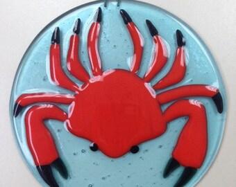 """Crab Fused Glass Ornament 5"""" Diameter"""