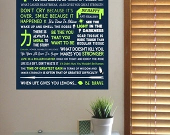 """Inner STRENGTH Inspirational POSTER For Courage Loss Grief Hope Happiness Motivation Etc.. A4 8x11"""" Typography Quotes Navy Blue Green Design"""