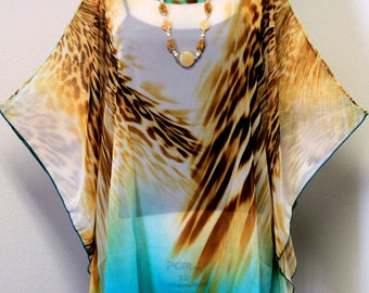 Bold and Beautiful,Travel, Escape, Chiffon Caftan in rare Italian print.Limited Edition. Fit M to 2XL