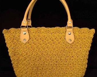 Yellow Crochet Handle bags Yellow Handbag Yellow Purses Yellow Tote bags Yellow Luxury Bags Yellow Luxury Purses (N18)
