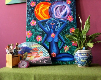 """Psychedelic Blue Goddess Original Acrylic Painting: """"Femininity, Fertility, Duality and Space"""" (20 X 30 Inches)"""