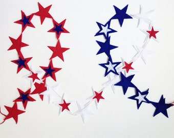 4th of July Banner, Patriotic Banner, July 4th Banner, Patriotic Garland, Star Banner, 4th of July, 4th of July Garland, Felt Garland,Banner