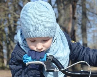 Knit Boys Spring Hat, Toddler Boy Beanie, Kids Lightweight Hat, Hand Knitted Baby Boy Beanie Hat, Merino Wool And Cotton Hat, Blue Boys Hat