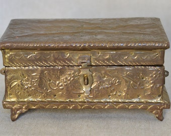 Intriguing Vintage Ornate Brass Box for Trinkets or Jewelry