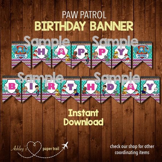 PAW PATROL GIRL'S Birthday Banner Digital By AshleysPaperTrail