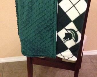 Argyle Michigan State University 2 sided Fleece/Minky Blanket