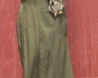Stunning Olive Green Vintage Evening Gown