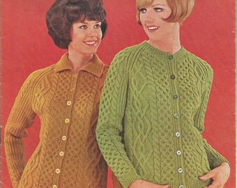 Vintage Ladies 60's Cabled  Aran Jacket/ Cardigan Knitting PDF Pattern