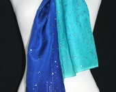 Blue, Turquoise, Teal Hand Painted Silk Shawl. Handmade Silk Scarf SHINING STARS, size 8x54. Birthday, Anniversary Gift. Gift-Wrapped