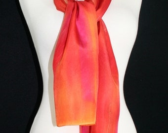 Orange Silk Scarf. Red Hand Painted Silk Shawl.  Berry Red Handmade Silk Scarf RED GIRL. Size 8x54. Birthday, Bridesmaid Gift. Gift-Wrapped