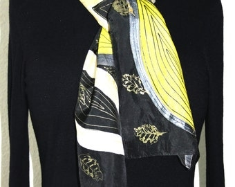 Silk Scarf Handpainted. Black, Yellow Hand Painted Silk Shawl. Handmade Silk Scarf SILKY LEAVES. 8x54. Birthday, Mother Gift. Gift-Wrapped.