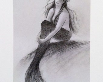 Mermaid greeting card, girl, nautical, coastal, beach art, mermaid from original graphite drawing on pastel paper by Tina O'Brien