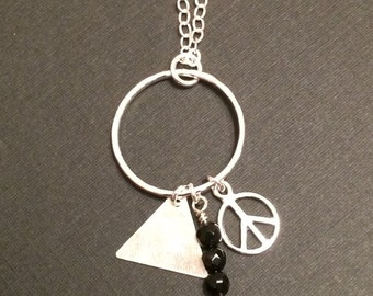 Sterling Silver/Argentium Triple Charm Necklace