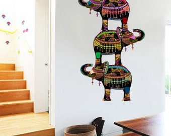 Colorful Elephants Ethnic Design Wall Decal