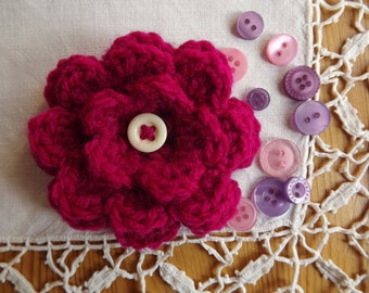 Crochet Flower Brooch. Magenta Flower Brooch Pin. Flower Corsage.