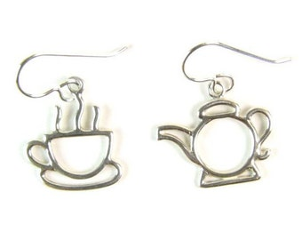 Tea Cup (or Coffee Cup) and Teapot Sterling Silver Earrings