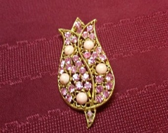 """Pink Rhinestone Tulip Brooch, with Pink Stones, gold-tone setting, 3"""" x 2.5"""" Valentines Day, Sweetheart Gift, Spring Brooch, Hat Scarf Pin"""