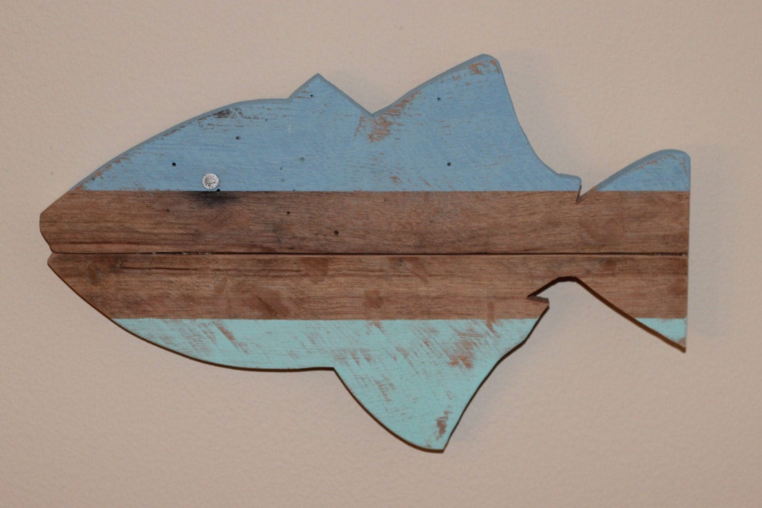 Wall Art Wood Fish : Wooden fish wall art nautical striped pallet