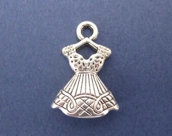 10 Dress Charm- Clothing Charm - Fashion Charm - Evening Dress Charm - Evening Dress Pendant - Antique Silver-22mm x 15mm-(U-Y1-10466)